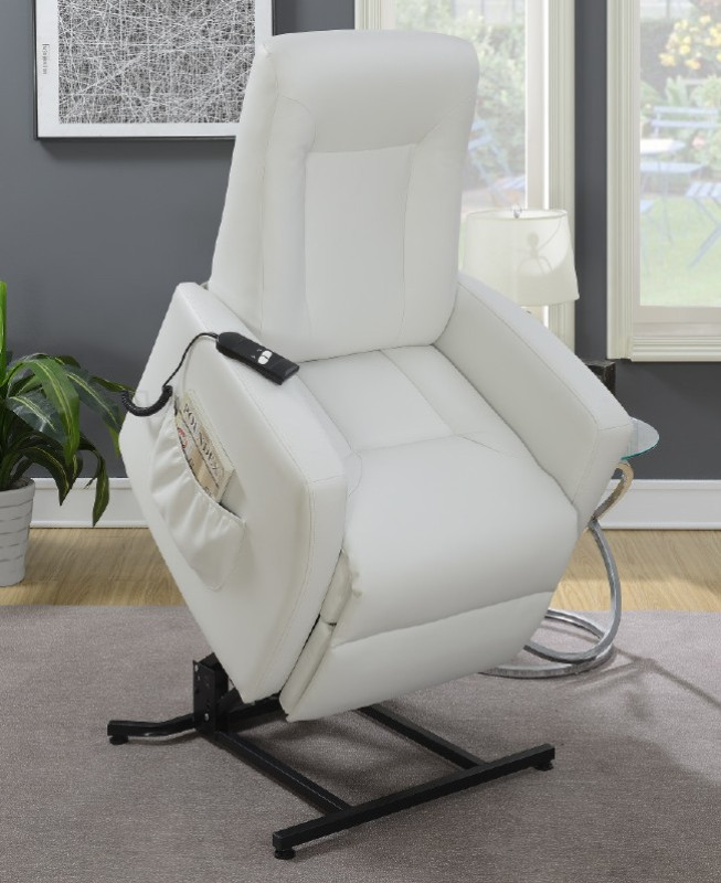 Tremendous Poundex F6718 Mabel Ii White Bonded Leather Power Lift Recliner Chair Squirreltailoven Fun Painted Chair Ideas Images Squirreltailovenorg