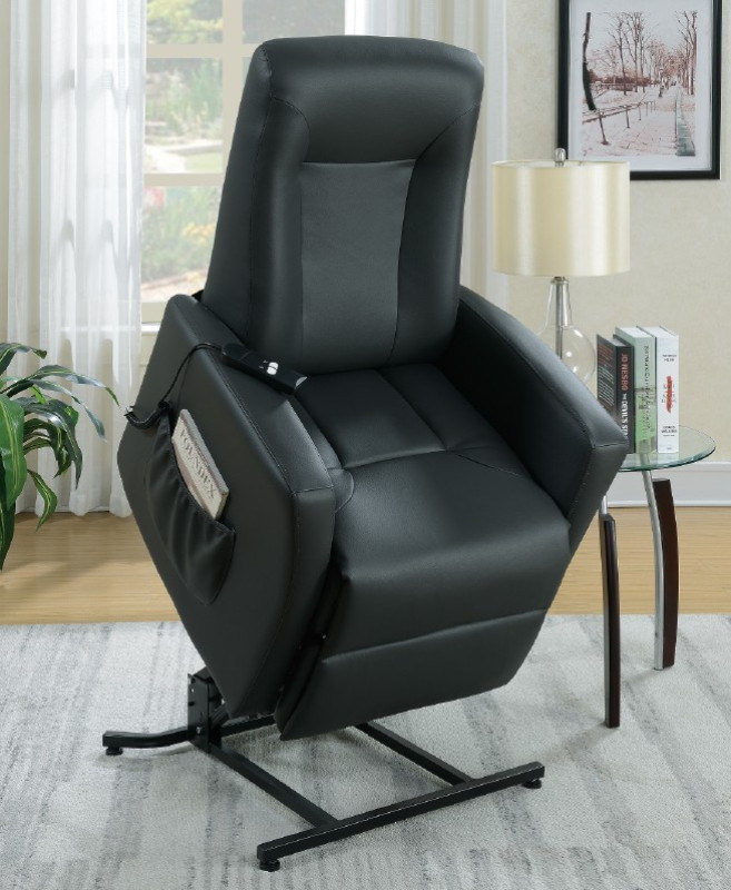 Poundex F6722 Mabel II gray bonded leather power lift recliner chair