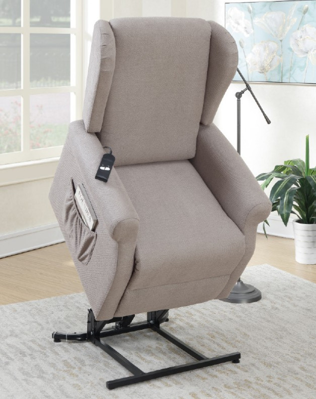 Poundex F6726 Mabel II gray hygiene fabric power lift recliner chair