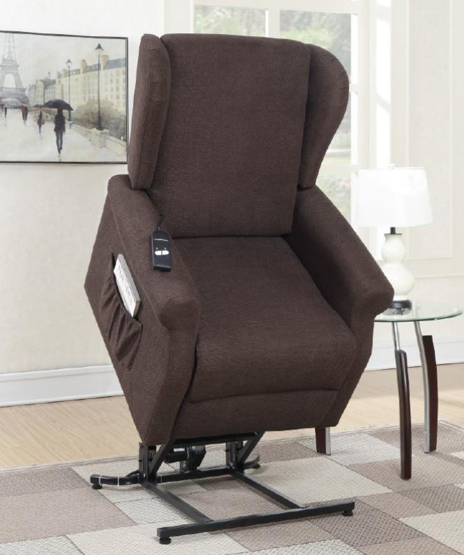 Poundex F6734 Mabel II dark coffee hygiene fabric power lift recliner chair