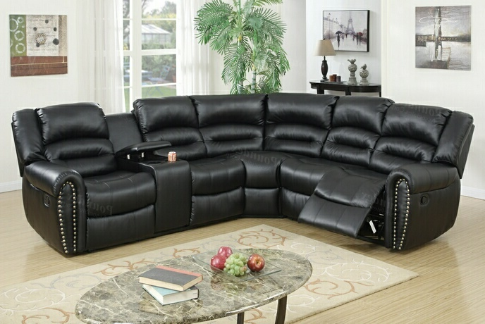 F6743 3 pc collette collection black bonded leather upholstered sectional sofa with nail head trim accents