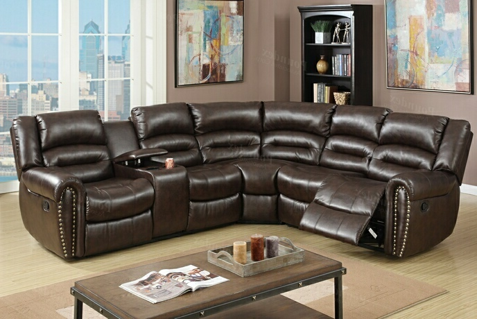 F6744 3 pc Collette collection brown bonded leather upholstered sectional sofa with nail head trim accents