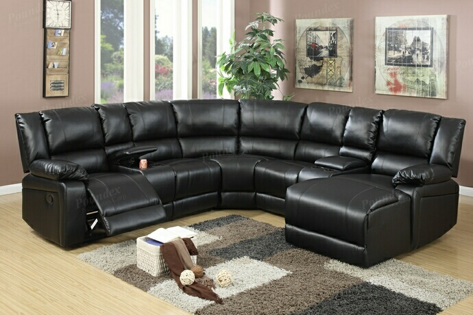 F6745 5 pc collette collection black bonded leather upholstered sectional sofa with chaise and recliners