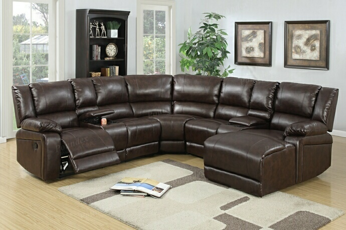 F6746 5 pc Collette collection brown bonded leather upholstered sectional sofa with chaise and recliners