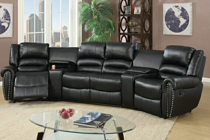 F6747 5 pc Collette collection black bonded leather upholstered theater sectional sofa with recliners