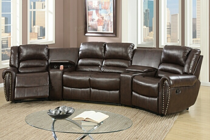 F6748 5 pc collette collection brown bonded leather upholstered theater sectional sofa with recliners