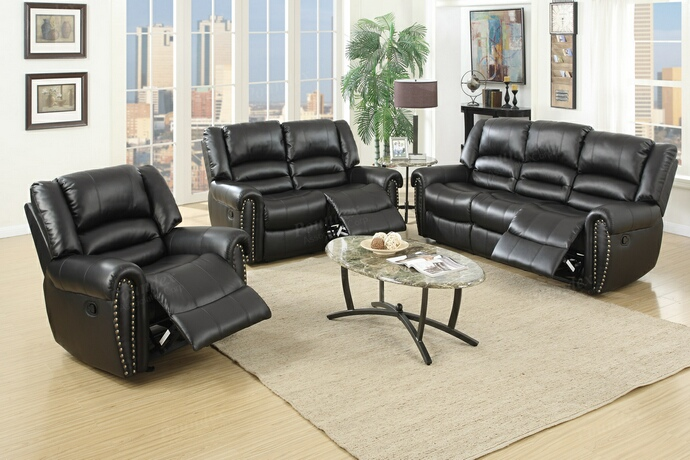F6749-50 2 pc Samantha III collection black bonded leather upholstered sofa and love seat set with nail head trim