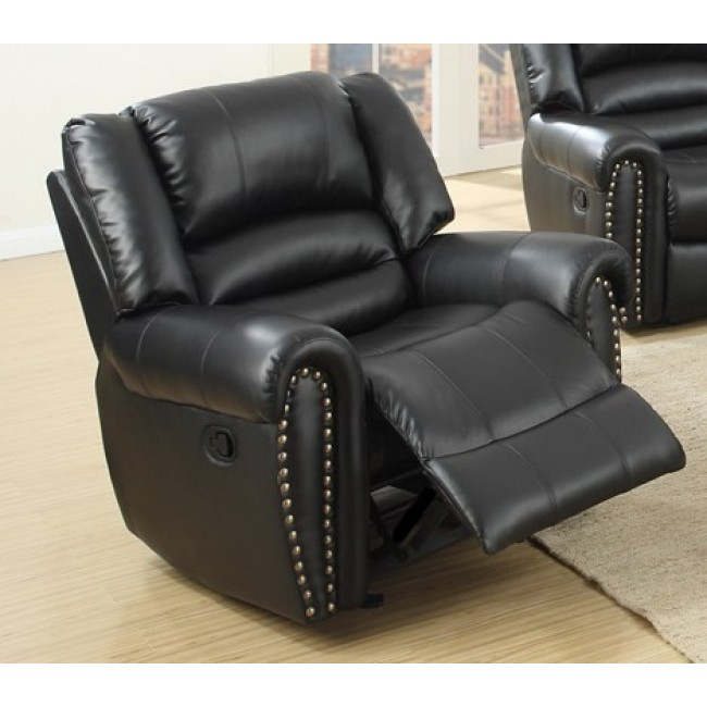 Tremendous Poundex F6751 Collette Black Bonded Leather Standard Motion Reclining Recliner Chair With Overstuffed Arms Pdpeps Interior Chair Design Pdpepsorg