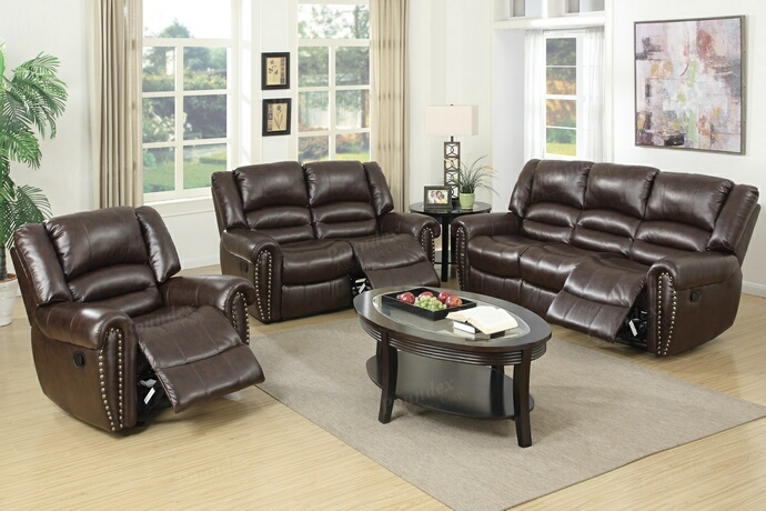 F6753-54 2 pc samantha iii collection brown bonded leather upholstered sofa and love seat set with nail head trim
