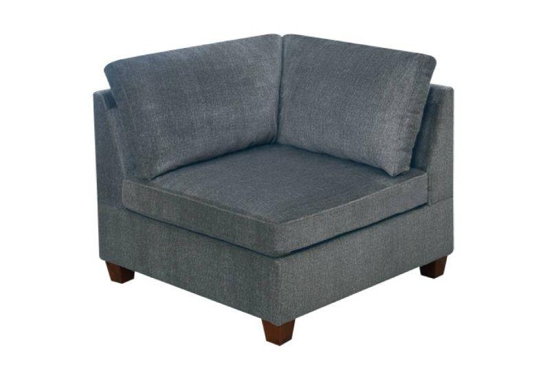 Poundex F817-C Latitude run mckenny gray chenille fabric modular corner wedge unit