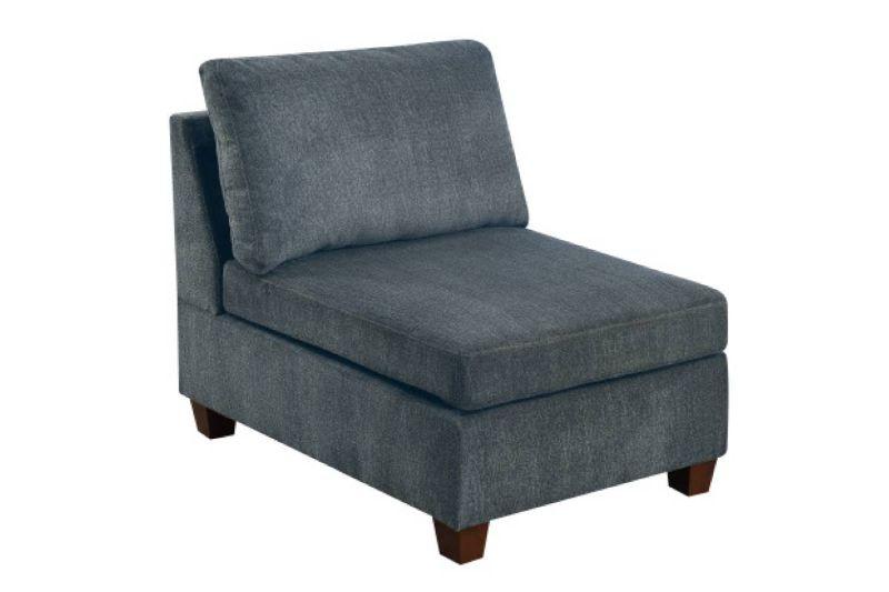 Poundex F6818-A Latitude run mckenny gray chenille fabric modular armless chair unit