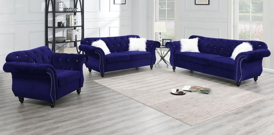 Poundex F6840-39 2 pc jolanda II indigo velvet fabric sofa and love seat set with tufted backs
