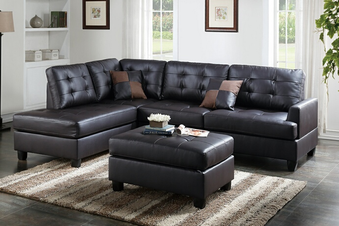 F6855 3 pc Martinique II collection espresso faux leather upholstered sectional sofa with reversible chaise and ottoman