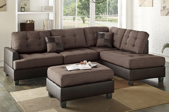 F6857 3 pc Martinique II collection two tone chocolate fabric and faux leather upholstered sectional sofa with reversible chaise and ottoman