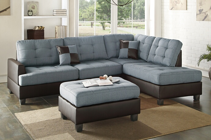 F6858 3 pc Martinique II collection two tone grey fabric and faux leather upholstered sectional sofa with reversible chaise and ottoman