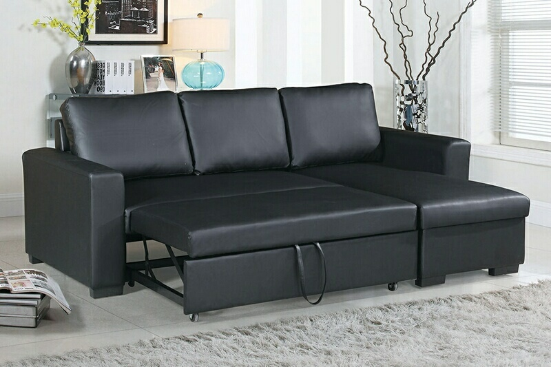 F6890 2 pc Everly collection black faux leather upholstered sectional sofa set with pull out sleep area