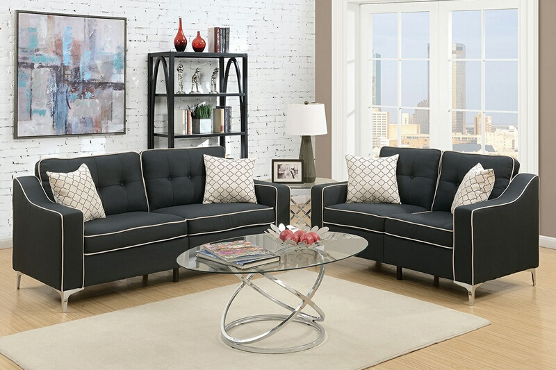 F6891 2 pc Sampson collection black linen like fabric upholstered sofa and love seat set