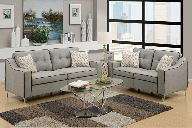 F6892 2 pc Sampson collection light grey linen like fabric upholstered sofa and love seat set