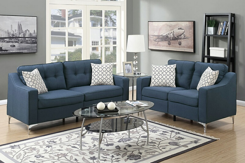 F6893 2 pc Sampson collection navy linen like fabric upholstered sofa and love seat set