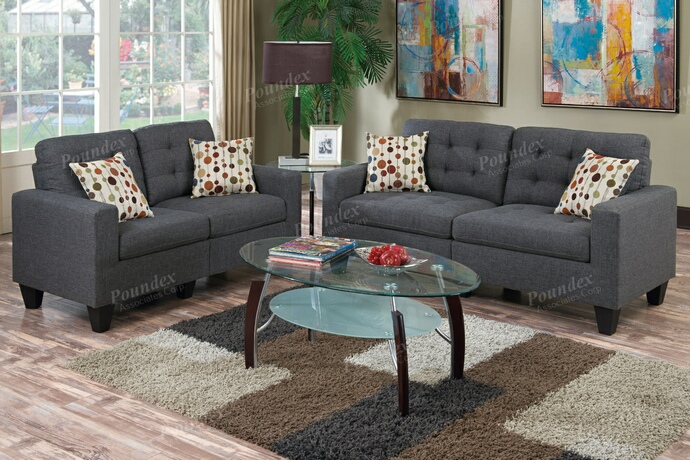 F6901 2 pc collette collection blue grey faux linen fabric upholstered sofa and love seat set