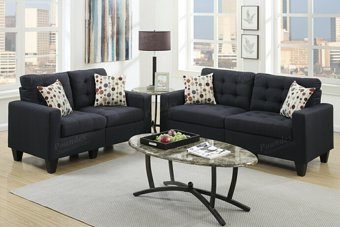 F6903 2 pc Collette collection black faux linen fabric upholstered sofa and love seat set
