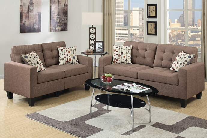 F6904 2 pc collette collection light coffee faux linen fabric upholstered sofa and love seat set