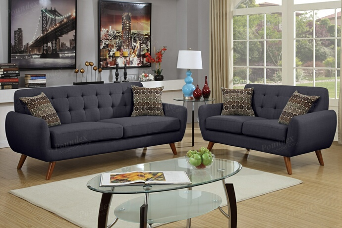F6913 2 pc collette collection ash black faux linen fabric upholstered sofa and love seat set