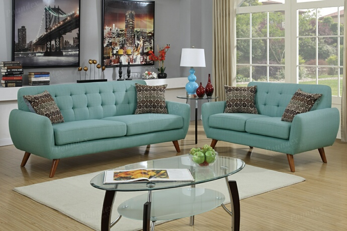 F6914 2 pc Collette collection laguna faux linen fabric upholstered sofa and love seat set