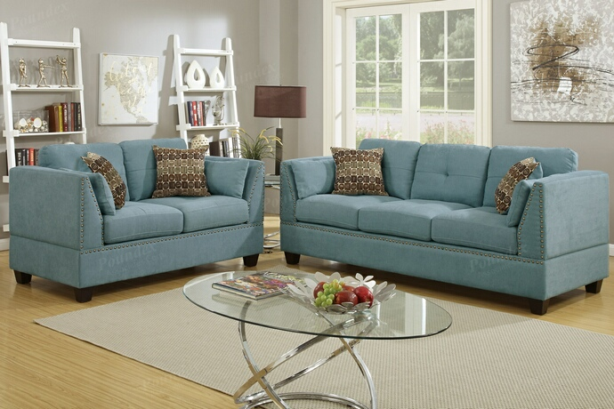 F6918 2 pc collette collection hydra blue velveteen fabric upholstered sofa and love seat set with nail head trim