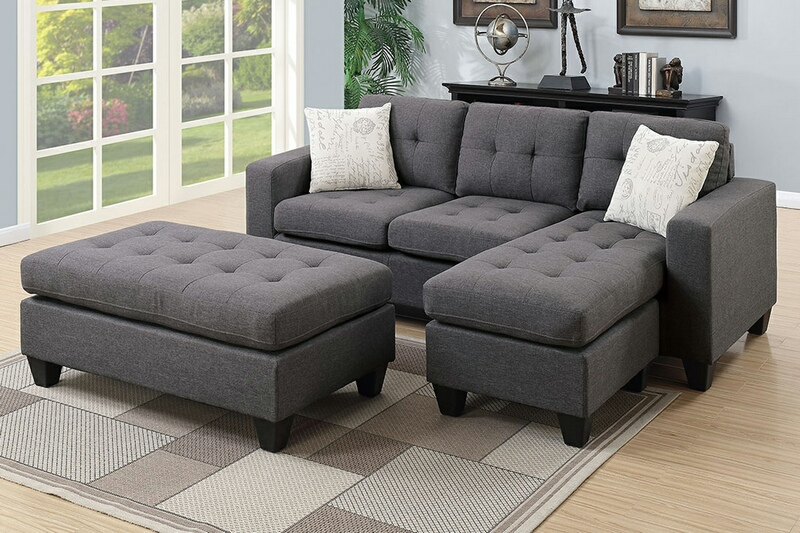 Poundex F6920 2 pc Ebern design ithaica daryl blue grey polyfiber fabric  reversible sectional sofa set chaise and ottoman