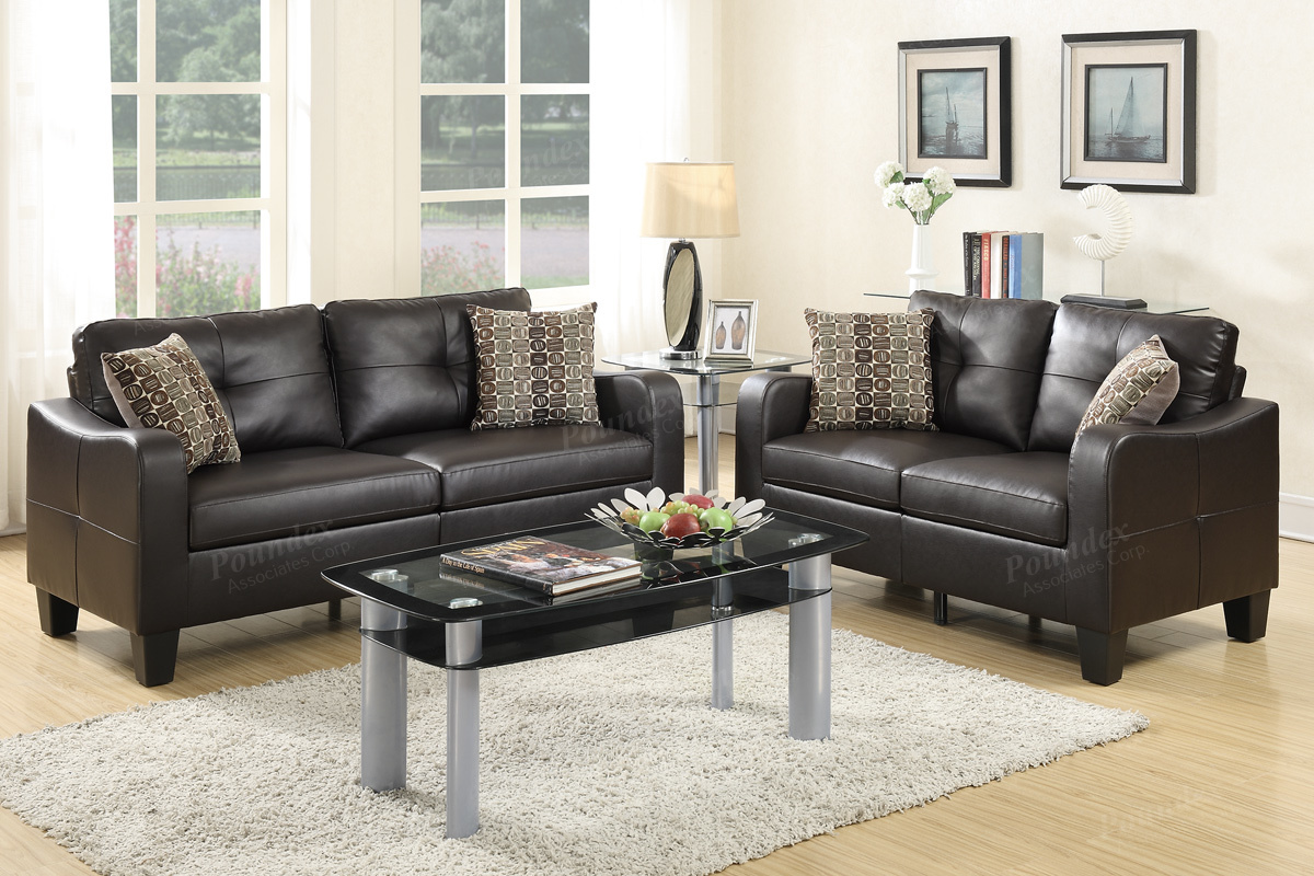 F6921 2 pc collette II collection espresso bonded leather upholstered sofa and love seat set