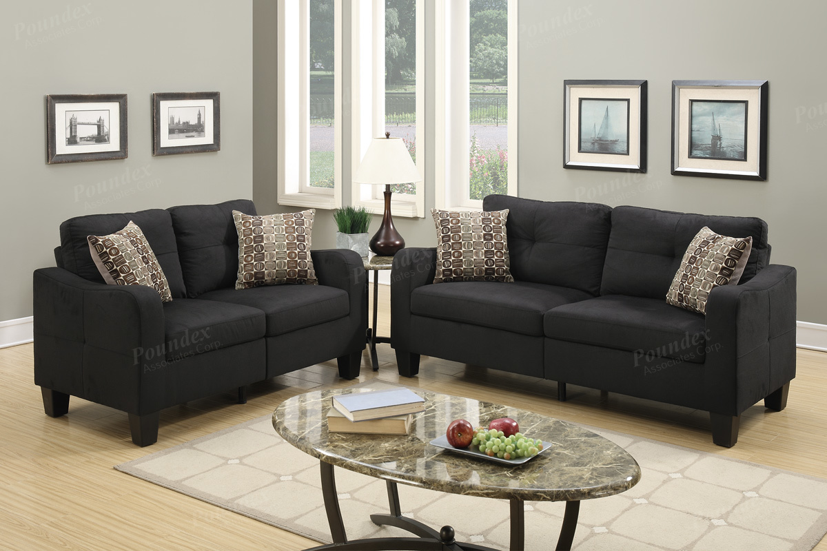 F6922 2 pc collette II collection black linen like fabric upholstered sofa and love seat set