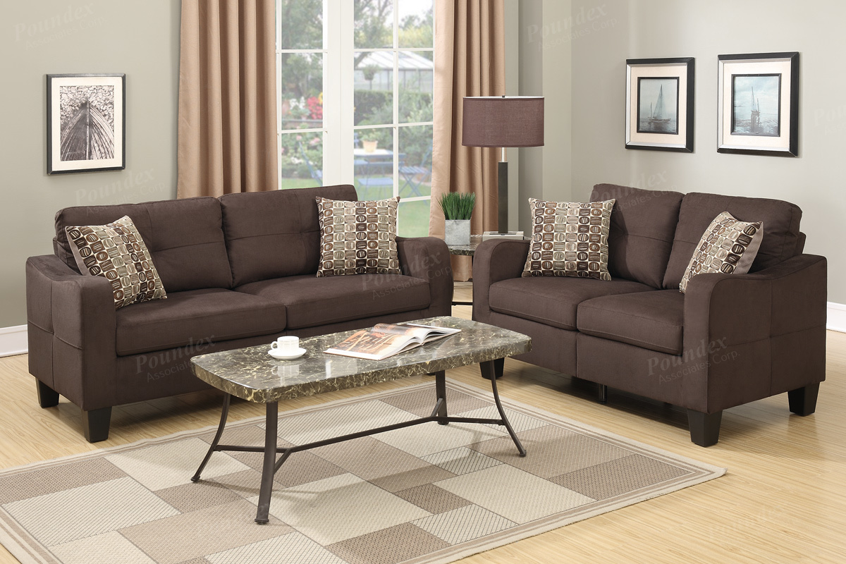 F6923 2 pc collette II collection chocolate linen like fabric upholstered sofa and love seat set