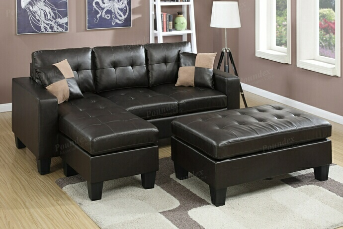 Poundex F6927 2 pc Akali daryl espresso bonded leather reversible sectional sofa set chaise and ottoman