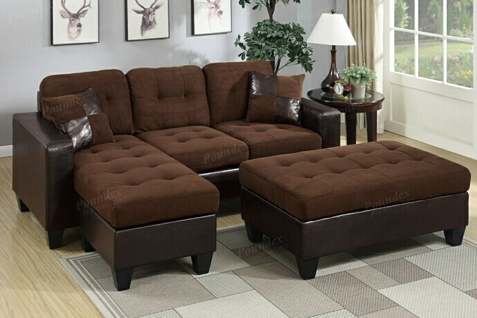 F6928 2 pc Daryl collection 2 tone chocolate microfiber fabric upholstered reversible sectional sofa set with chaise and ottoman