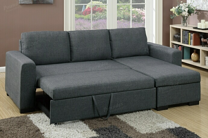 F6931 2 pc Daryl collection blue grey polyfiber fabric upholstered sectional sofa set with pull out sleep area