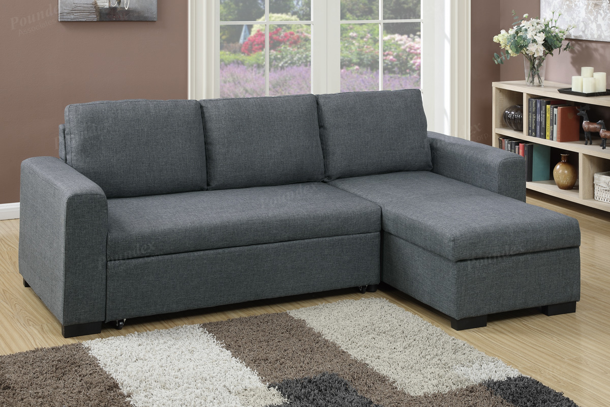 Groovy Poundex F6931 2 Pc Everly Blue Grey Polyfiber Fabric Sectional Sofa Set Pull Out Sleep Area Inzonedesignstudio Interior Chair Design Inzonedesignstudiocom