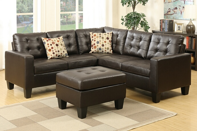 F6934 4 pc Collette collection espresso bonded leather upholstered modular sectional sofa