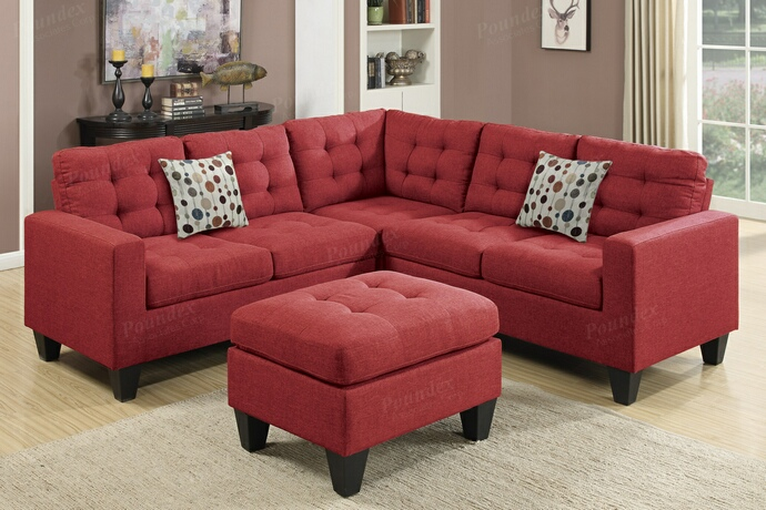 F6936 4 pc collette collection carmine polyfiber faux linen fabric upholstered modular sectional sofa