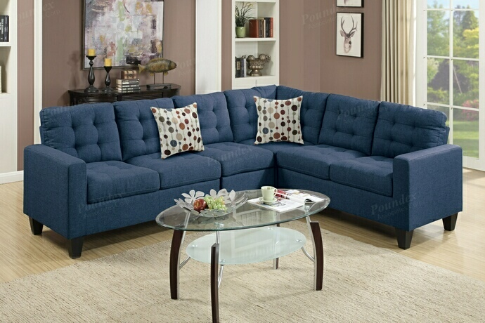 F6938 4 pc collette collection navy polyfiber faux linen fabric upholstered modular sectional sofa