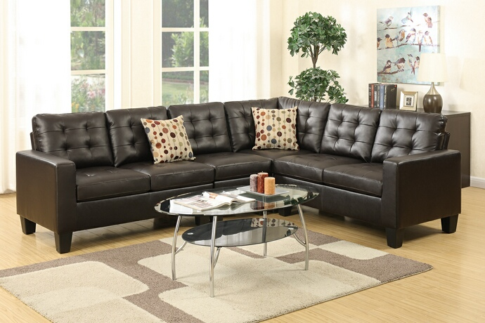 F6939 4 pc Collette II collection espresso bonded leather upholstered modular sectional sofa