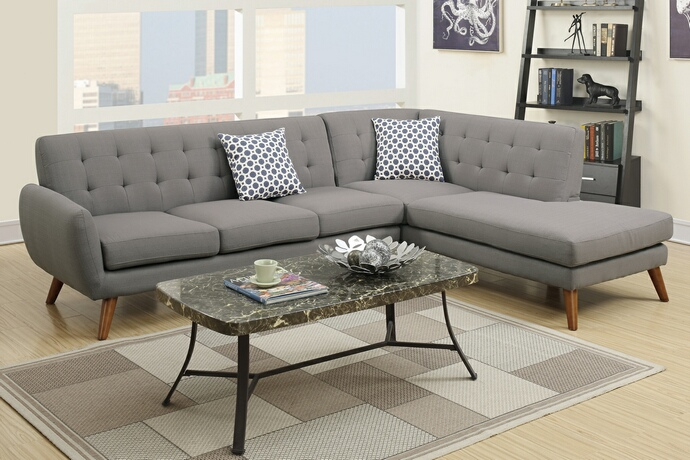 F6953 2 pc Abigail collection grey linen like fabric upholstered sectional sofa with tufted back