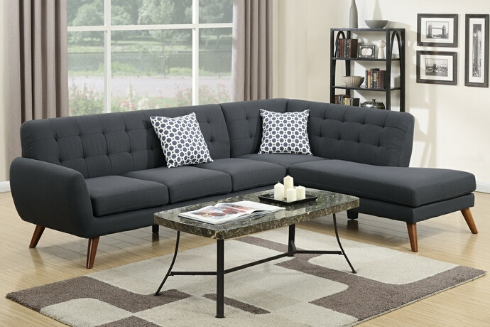 F6954 2 pc Abigail collection ash black linen like fabric upholstered sectional sofa with tufted back