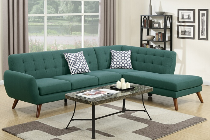 F6955 2 pc Abigail collection laguna linen like fabric upholstered sectional sofa with tufted back