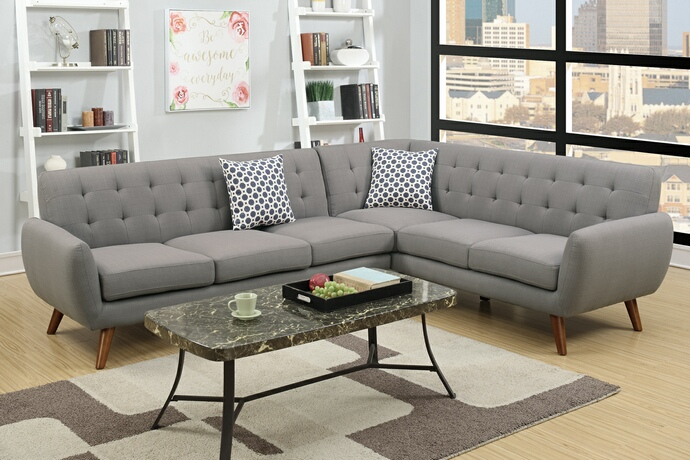 F6961 2 pc abigail ii collection grey linen like fabric upholstered sectional sofa with tufted back