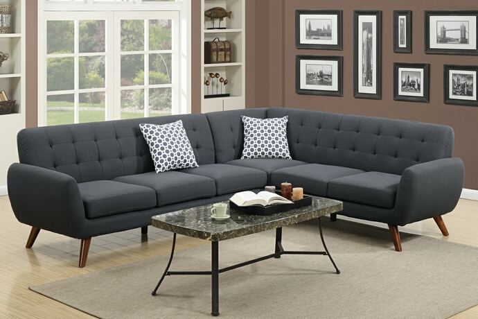 F6962 2 pc Abigail II collection ash black linen like fabric upholstered sectional sofa with tufted back