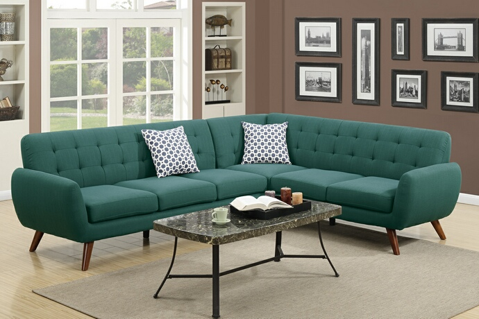 F6963 2 pc Abigail II collection laguna linen like fabric upholstered sectional sofa with tufted back