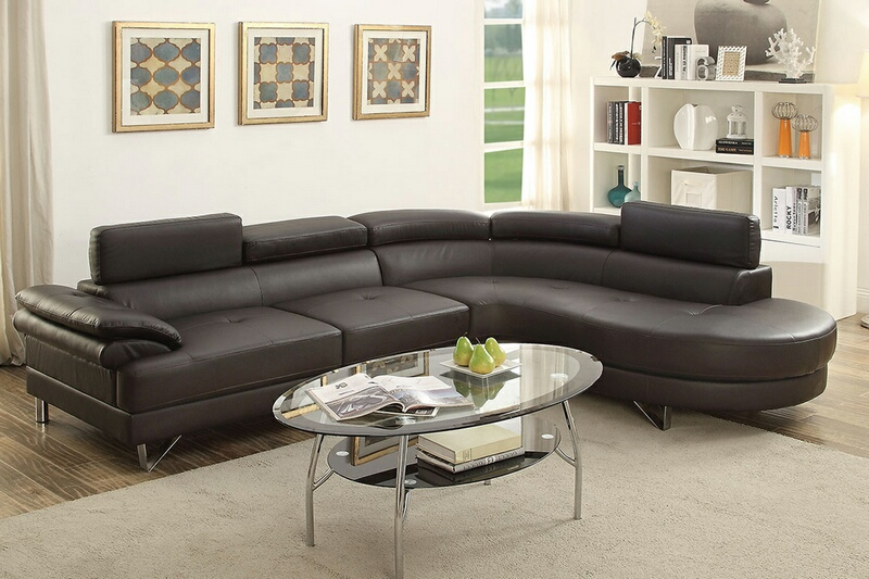 Poundex F6969 2 pc Madison espresso faux leather sectional sofa set with  rounded chaise
