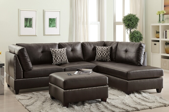 F6973 3 pc Martinique collection espresso bonded leather upholstered sectional sofa with reversible chaise and ottoman