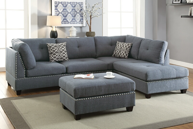 Poundex F6975 3 pc Ebern designs amarre blue grey linen like fabric sectional sofa reversible chaise and ottoman